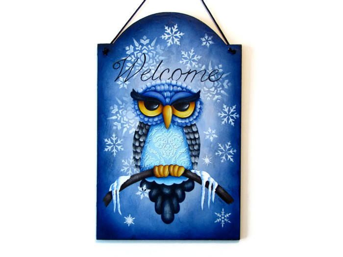 Excited to share the latest addition to my #etsy shop: Owl Winter Welcome Sign, Handpainted Wood Home Decor, Hand Painted Welcome Wall Art, Tole Decorative Painting http://etsy.me/2DMVluS #housewares #homedecor #tole #folkart #handpainted #ofgteam #tolepainting #toletr