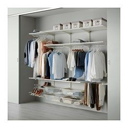 IKEA - ALGOT, Wall upright/rod/shoe organizer, The parts in the ALGOT series can be combined in many different ways and easily adapted to your needs and space.You click the brackets into the ALGOT wall uprights wherever you want to have a shelf or accessory – no tools needed.Can also be used in bathrooms and other damp indoor areas.
