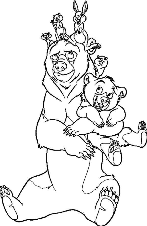 Brother Bear Gather Together Coloring Pages For Kids Printable