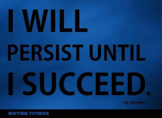 i will persist until i succeed I like the fact that you point out that you can keep finding different things to learn in order to improve most of us don't exhaust all options, which is why we don't succeed.