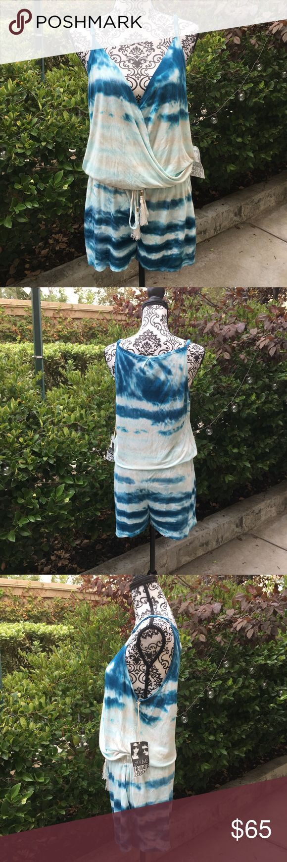 Young fabulous and broke tie-dyed romper New with partial tags and never worn ,Young fabulous and broke tie-dyed turquoise and white romper in L. but will also fit a Med. Very cute with  fringe detailing on the waste tie. Young fabulous and broke Shorts