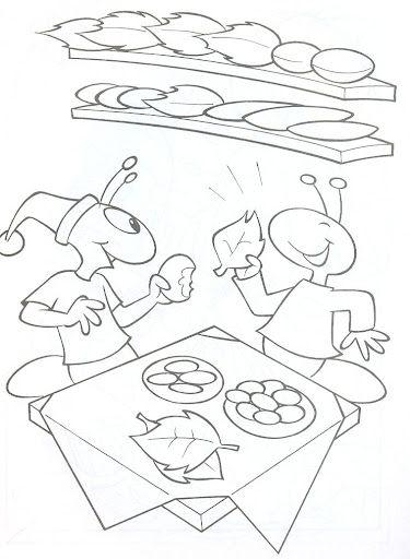 Desenhos a cigarra e a formiga para colorir ou contar a história! - ESPAÇO EDUCAR