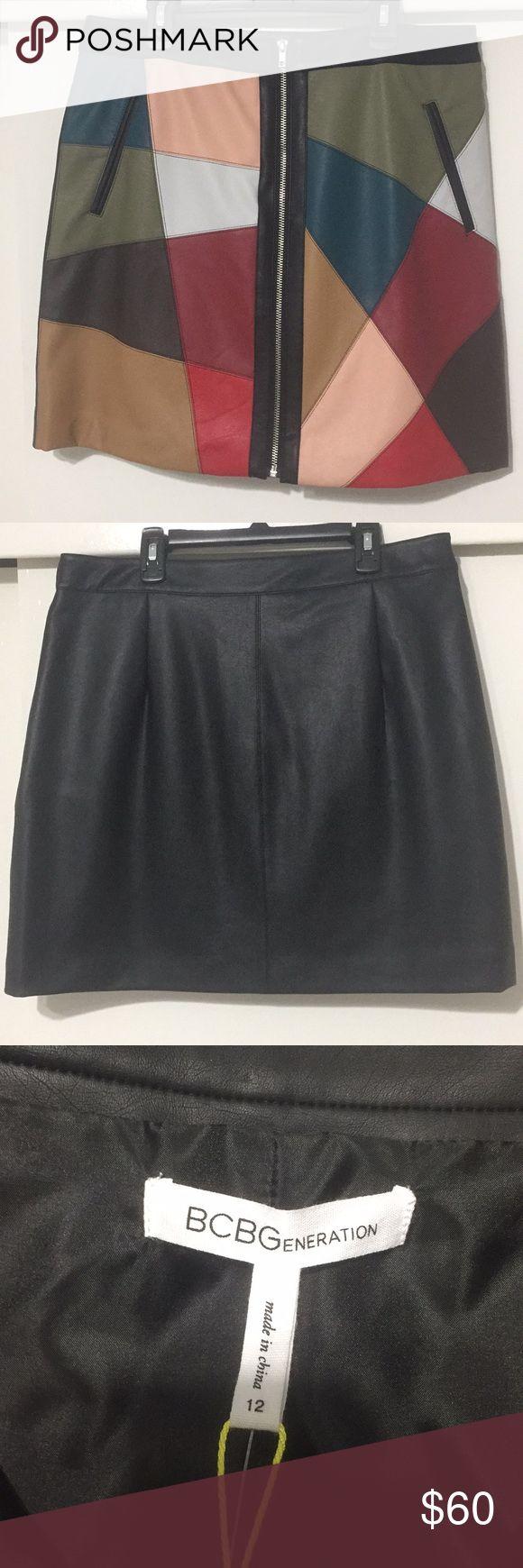 BCBG Colorful Leather Skirt BCBG Generation Multicolor Leather skirt BCBGeneration Skirts Midi