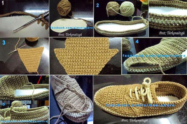 Crochet y dos agujas: Zapatos de hombre tejidos al crochet con ...