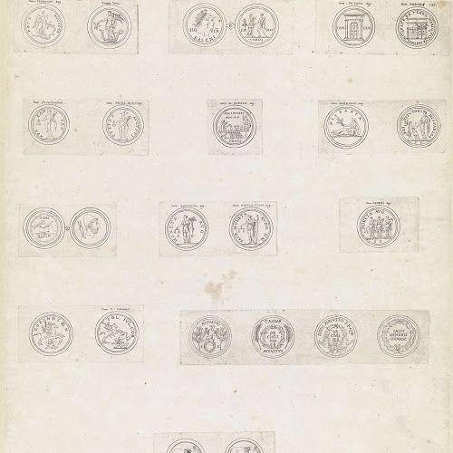 Vierentwintig Romeinse munten met deviezen en emblemen van keizers, Theodoor van Thulden, 1642 - Rijksmuseum