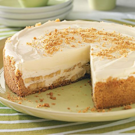 Banana Cream Cheesecake Recipe -Here is a lovely company dessert that can be made a day or two in advance. It's the perfect finale to any meal. —Margie Snodgrass, Wilmore, Kentucky