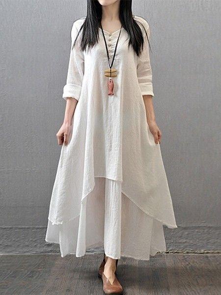 Classical Round Neck Falbala Printed Maxi-dresses Maxi Dresses from fashionmia.com