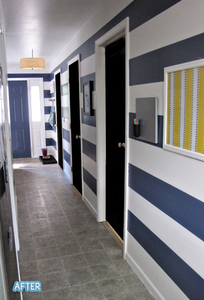 Better After: Black doors and easy DIY stripes - unexpensive way to revamp a boring corridor