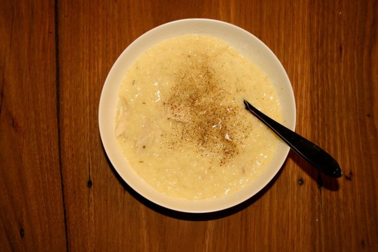 Avgolemono (Greek Lemon and Rice Soup) with Chicken
