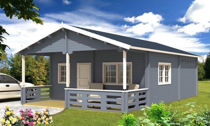 """Unser Blockhaus """"Toledo"""" mit Schlafboden, hat eine Nutzfläche von ca. 50qm. Weitere günstige Blockhäuser und Gartenhäuser und alle Preise finden Sie auf www.onlineblockhaus.eu"""