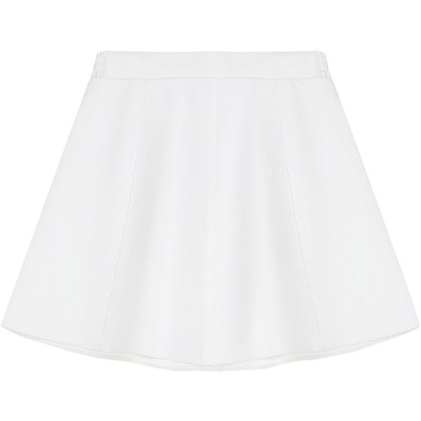 RED Valentino Cotton-Blend Mini Circle Skirt ($250) ❤ liked on Polyvore featuring skirts, mini skirts, bottoms, white, red valentino, mini circle skirt, skater skirt, white skirt and flared skirt