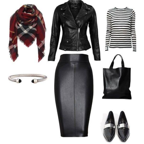 Кожаная юбка-карандаш для уверенных – юбка-карандаш, косуха, полосатый топ, шарф сумка и лоферы