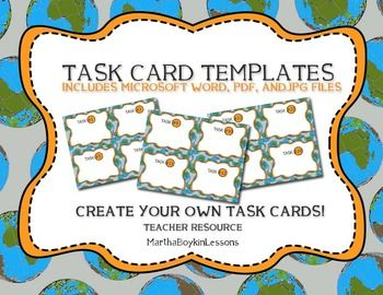 168 best middle school high school geography lessons for Blank task card template