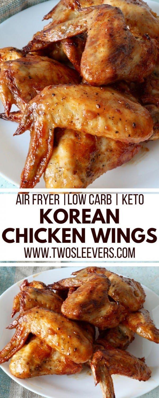 Air Fryer Korean Chicken Wings Air Fryer Wings Keto Wings Keto Korean Keto Appetizer Recipe Low C