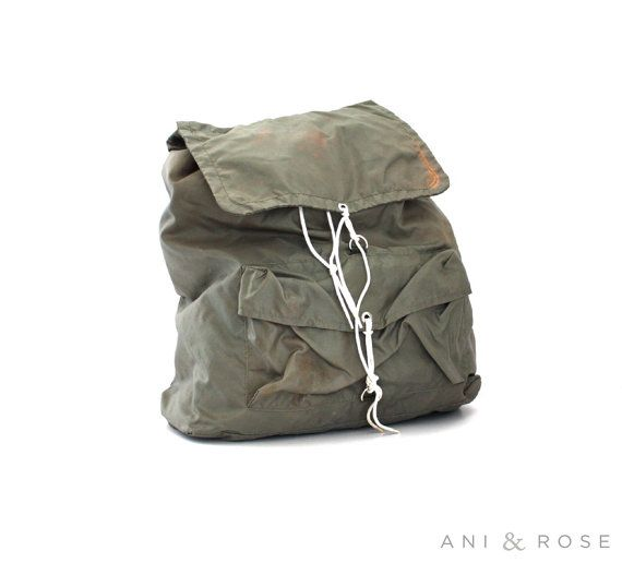Vintage OLIVE Green East Pak Hiking Backpack by aniandrose on Etsy
