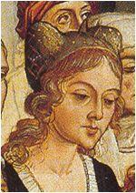 Horned headdresses. 1470-1471. Life of Santa Elena, verification of Santa Cruz, Pedro Berruguete, Retablo de la Vera Cruz, Museum of Santa Eulalia, Paredes N ...
