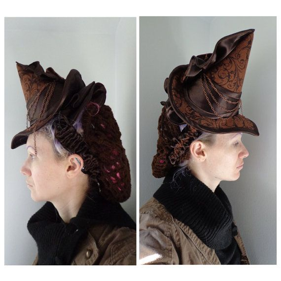 Hey, I found this really awesome Etsy listing at https://www.etsy.com/listing/216876049/brown-steampunk-witch-hat-victorian-tilt