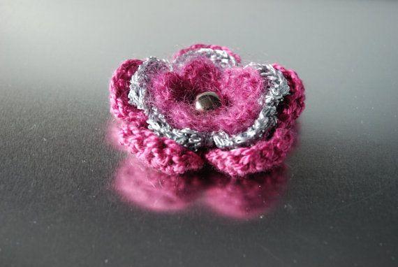 Flower Brooch Crochet Brooch Crochet Flower Brooch Fabric
