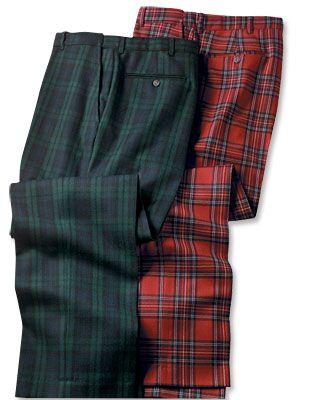 Scottish Tartan Trousers in Black Watch