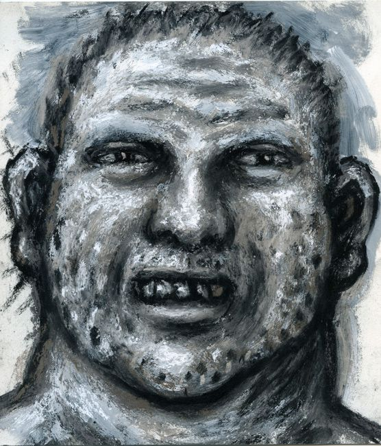 © Peter Booth ~ Drawing 2010 (smiling man with stubble) ~ 2010 mixed media on paper at Olsen Irwin Gallery Sydney Australia