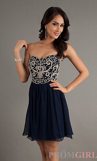Strapless Blue Cocktail Dress by Sean at PromGirl.com