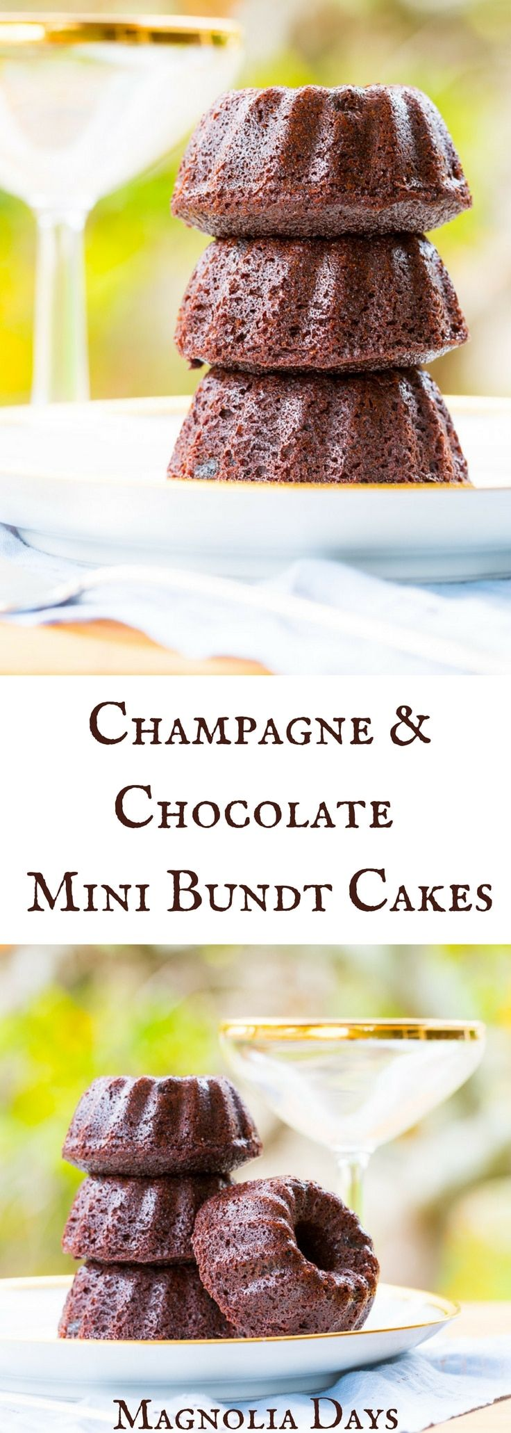 Champagne Chocolate Mini Bundt Cakes combine two favorite flavors in one mini bundt cake. They're easy to make and perfect for parties. via @magnolia_days