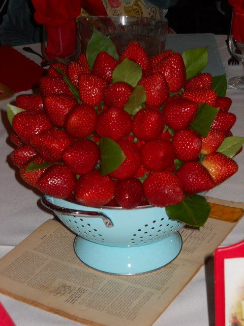 Strawberry Colander Centerpieces-Retro Bridal Shower- Really Cute Idea! :)