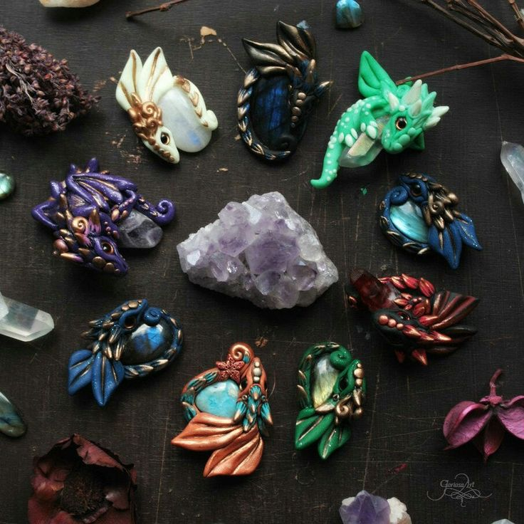 New Dragon pendants with minerals :)  Labradorite - amethyst - moonstone - larimar - aura quartz crystal - dragon pendant - dragon jewelry - dragon amulet - wiccan amulet -spirit necklace - polymer clay - fimo art - by GloriosaArt