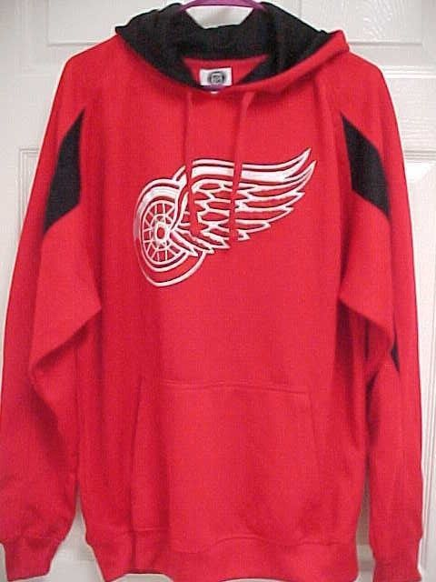 1d6e9123a75 DETROIT RED WINGS Men Red Black Embroidered Pullover Sweatshirt Hoodie L  NHL  NHL  DetroitRedWings