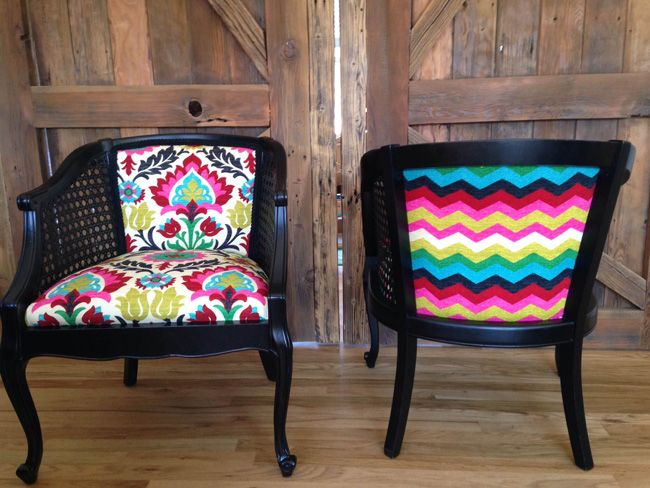 Chair makeover! Adorable! Photo Credit: Jamie Lauren Upholstery. Perfect makeover for the front porch chairs!