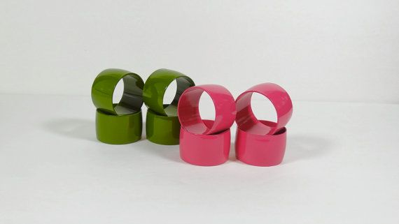Green and Pink Napkin Rings  Lacquered by OldThingsMakeMusic