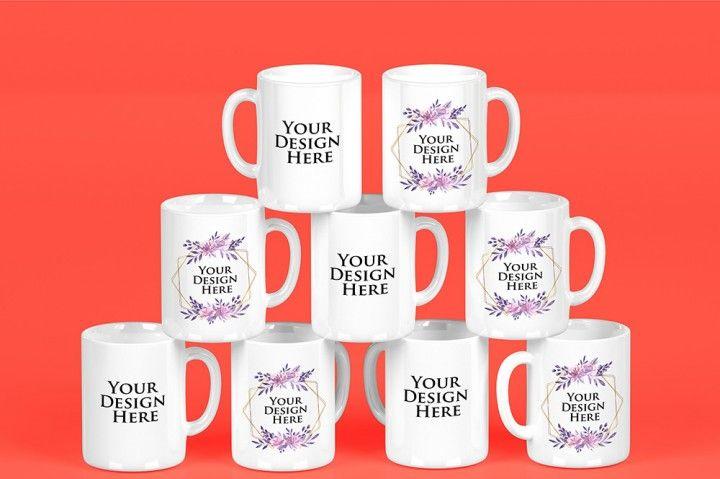Encontre mais produtos de informática, software, design gráfico e edição. Mockup Stacked Mugs White Selec Back Colors By Milan Mockup Mugs Color Mockup