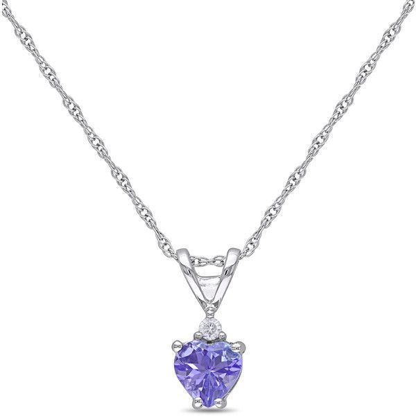 Delmar Tanzanite & Diamond Simple Heart Pendant Necklace (1 565 ZAR) ❤ liked on Polyvore featuring jewelry, necklaces, heart chain necklace, diamond necklace pendant, heart shaped necklace, chain necklaces and heart shaped pendant necklace