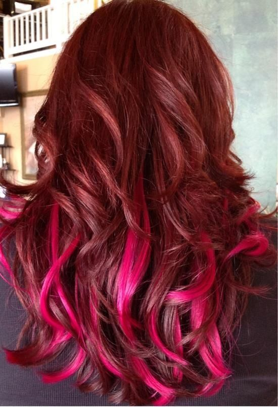 Long Hair Red With Pink Hairstyles And Beauty Tips Layered Style Hairstyle Inspirations