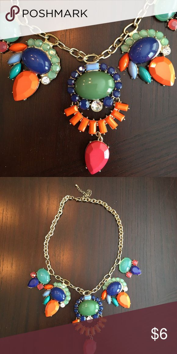 Jeweled necklace (from red dress boutique) Gold chain with orange, blue pink and navy colors Jewelry Necklaces