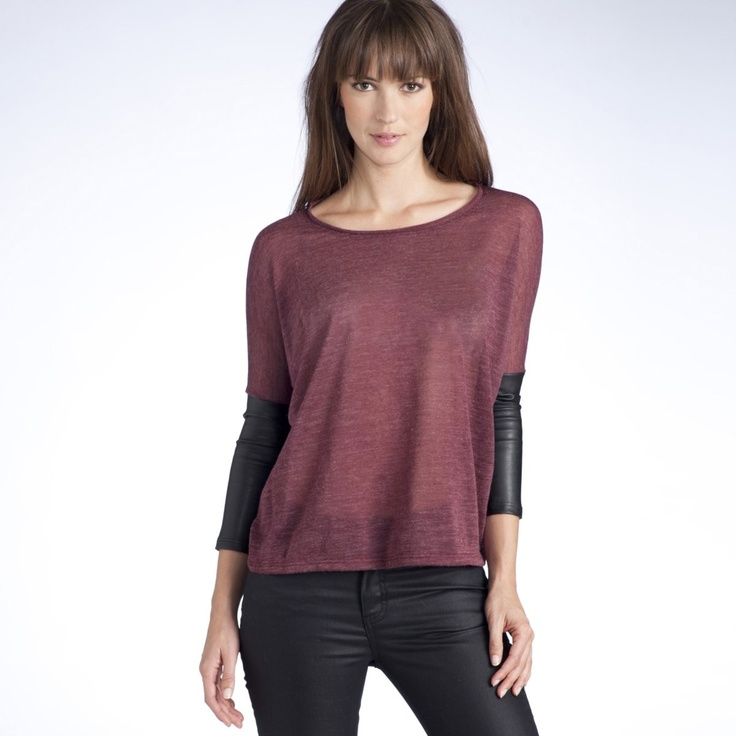 La Redoute- Dual Fabric Sweater with 3/4 sleeves and Faux Leather Cuffs