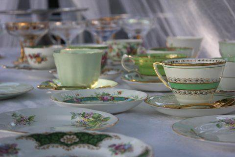 Green tablescape buffet shower tea