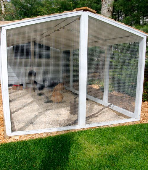 The chicken run is covered with a cedar shingled roof that helps keep predators out and protect the chickens from the Cape Cod elements. Pro tip: Predator proof your coop using hardware cloth. Avoid chicken wire, too: It's meant to keep chickens in, but will not hold up to predator attacks.   - CountryLiving.com
