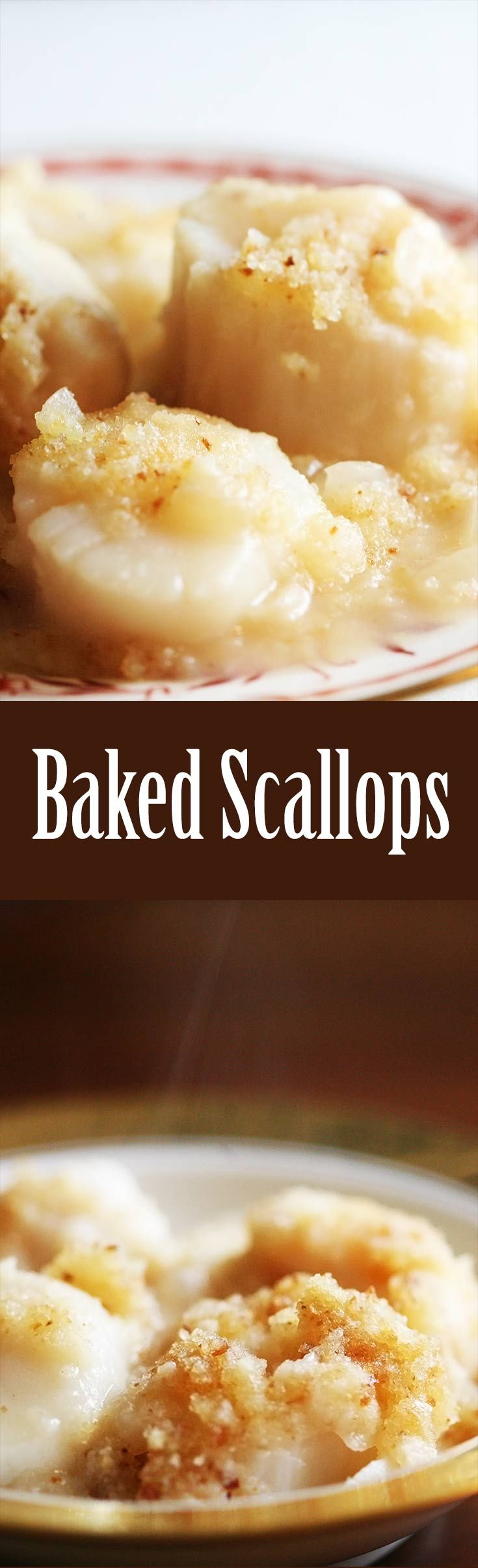 Baked Scallops ~ Easy baked scallops recipe. Scallops baked in a white ...