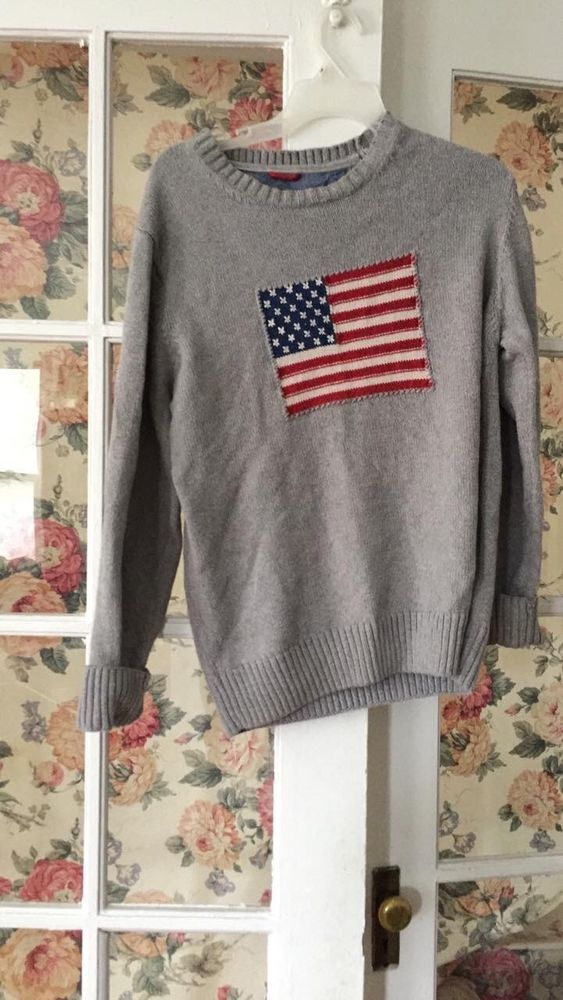 a830d32824c4 Gant Rugger 100% Cotton USA American Flag Crewneck Sweater NWOT Medium