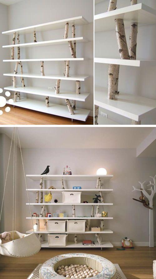 Ik ben fan van dit wandrek van planken en boomstronken. Meer opbergmeubels die bij je passen op de blog#sweethomesmartlife - #home #interiordesign #bookshelf #DIY #wood