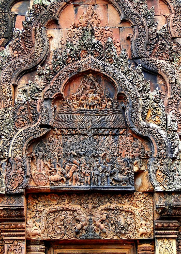 ANCIENT ART. Carvings on Banteay Srei, a Cambodian temple dedicated to the Hindu god Shiva. It is located in Angkor, Cambodia, and dates to 967 A.D. Portrayed on this carving is the burning of Khandava forest, an ancient forest mentioned in the epic Mahabharata. Photo courtesy & taken by fmpgoh.