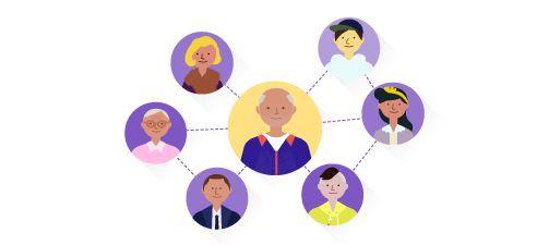 Proprietarul companiei în centru, înconjurat de rețeaua sa globală.