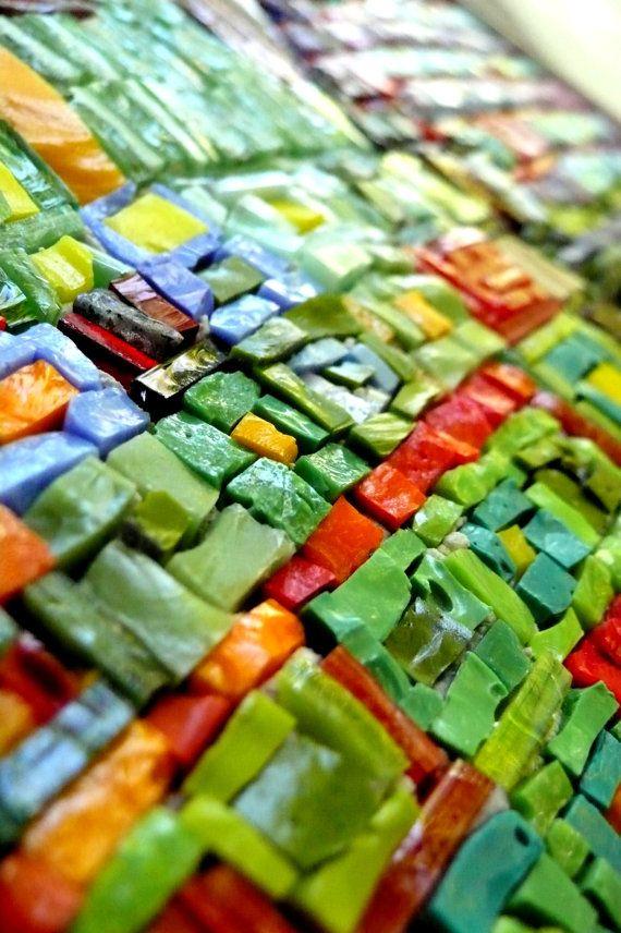 smalti..mosaic art / multicolour mosaic / fantasy abstract style mosaic / Hundertwasser inspired art mosaic / green, red, violet / art glass mosaic