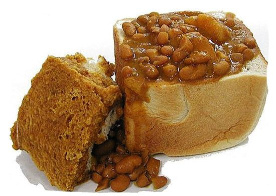 A half bunny-chow filled with curry from Durban South Africa.