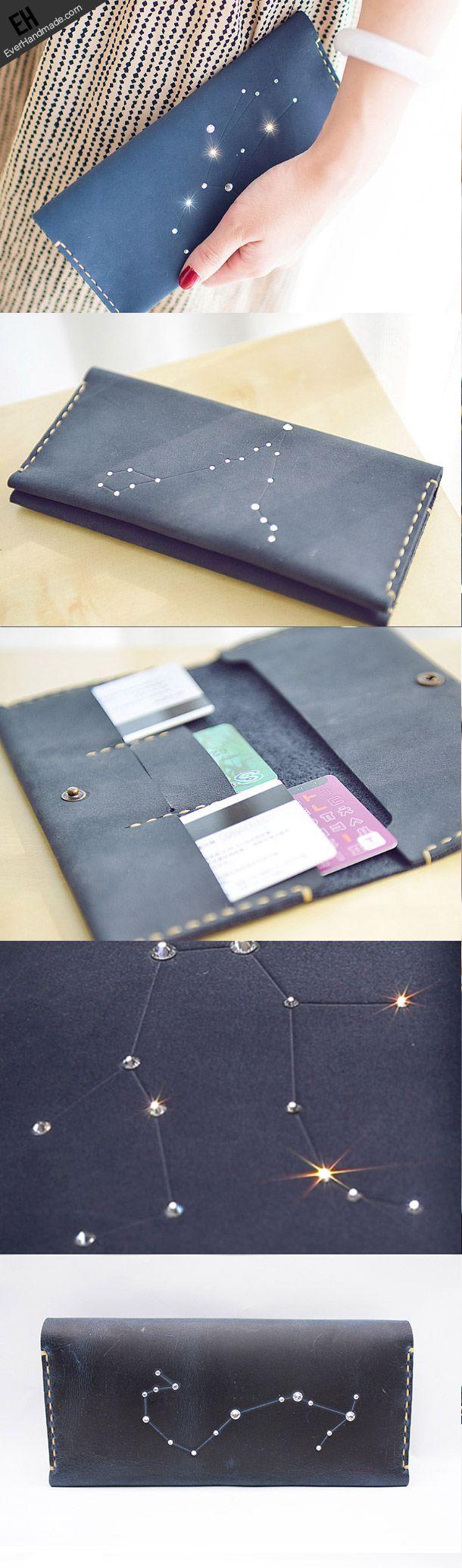 Handmade Leather long wallet purse women clutch wallet constellation