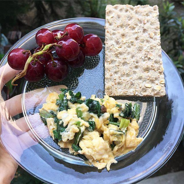 GÜNAYDINNN 💃🏻 Günün her öğününde yeşilliklerden vazgeçmeyen biri olarak bu sabahki kahvaltımda bahçemizin ürünü olan pazılardan güpgüzel bir omlet yaptım 🙌🏼 Omletin oldukça doyurucu ve besleyici olduğuna inandığım için yanına sadece 1 küçük salkım üzüm ve 1 adet wasayı ekledim 😍 Omletin içeriğine gelecek olursak 👉🏼 1 tatlı kaşığı zeytinyağ ile 1 yaprak pazı ve 1 adet taze soğanı rengi dönünceye kadar çevirdim. Hemen ardından biraz tuz ile çırptığım 1 adet yumurtayı da ekledim ve hazır…