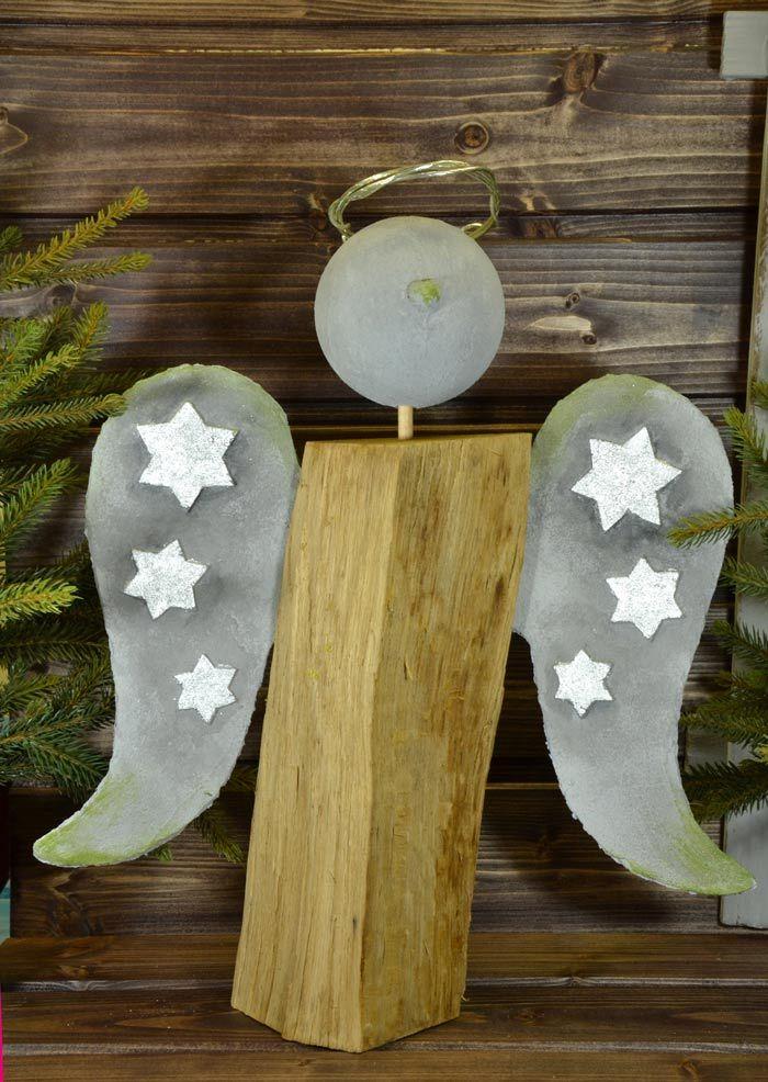 Holzscheit engel mit beton fl geln idee mit anleitung for Engel basteln holz