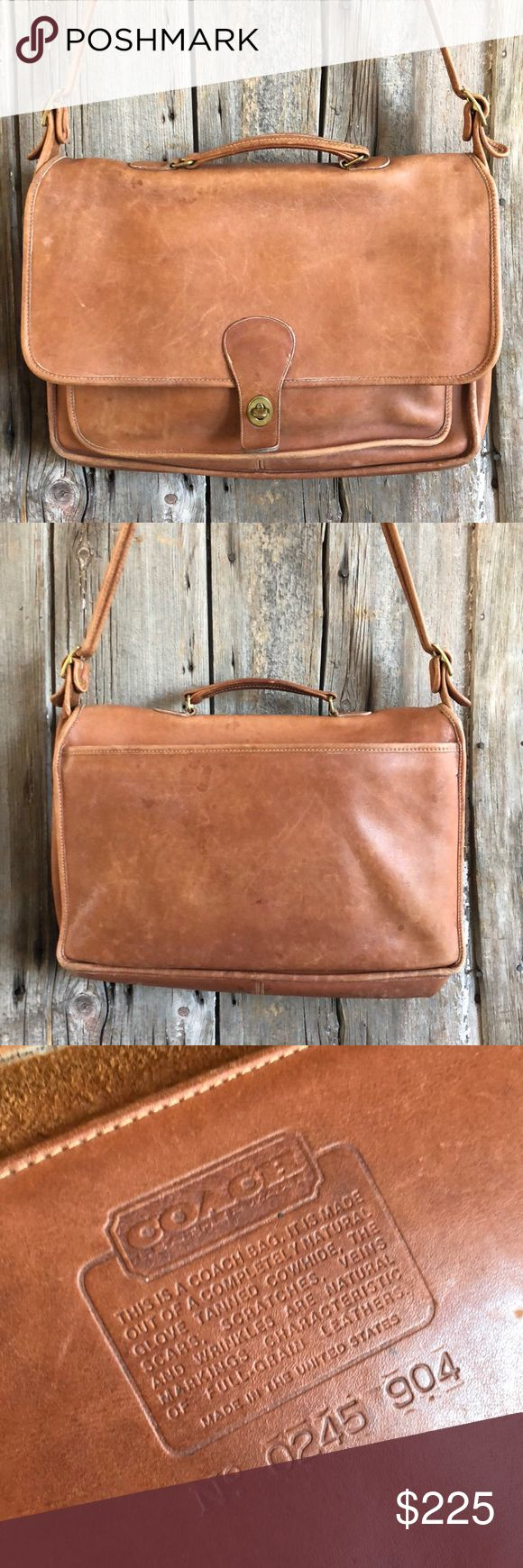 COACH Messenger Bag Vintage COACH Camel Colored Leather Messenger Bag. Has Some Stains But Nothing That Doesn't Add To Ots Character and Vintage Charm. Coach Bags