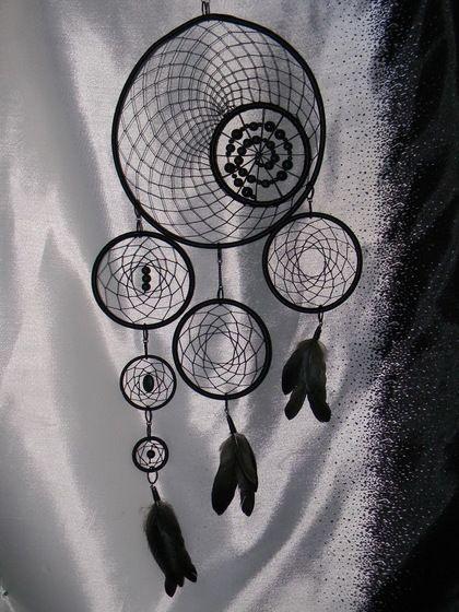 """Ловец снов """"Асимметрия"""" - чёрный,ловец снов,ловушка для снов,ловец сновидений"""